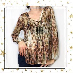 Jessica Simpson Animal print lace up blouse (C4)